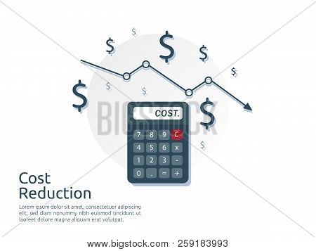 Cost Reduction Concept. Calculator And Arrow Line Decrease. Dollar Money Fall Down Symbol. Economy S