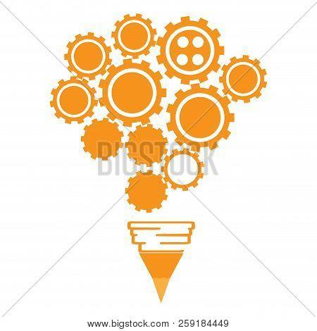 Conceptual Idea Lightbulb Composed By Gear Pieces. Vector Illustration Design