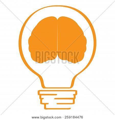 Conceptual Idea Lightbulb With A Brain Icon. Vector Illustration Design