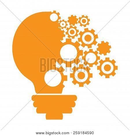 Conceptual Idea Lightbulb With Gear Pieces. Vector Illustration Design