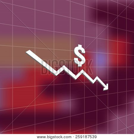 dollar money fall down icon symbol with blur background. arrow decrease economy stretching rising drop. Business lost crisis decrease. cost reduction bankrupt icon. vector illustration. poster