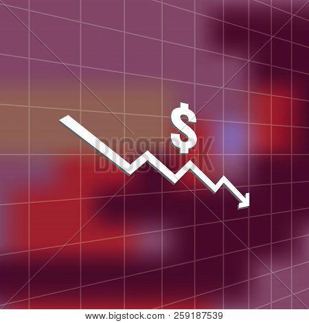 Dollar Money Fall Down Icon Symbol With Blur Background. Arrow Decrease Economy Stretching Rising Dr