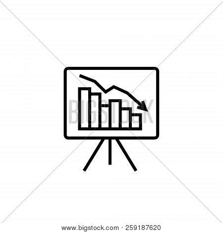 Graph Table Arrow Decrease Icon. Dollar Money Fall Down Symbol. Economy Stretching Rising Drop. Busi