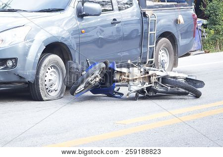 Two Vehicle Head-on Accident, Caused By One Pickup Blow Out To Yield, Results In A Motorcycle Crash