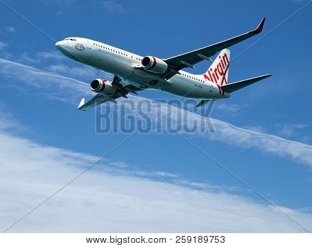 Sydney, New South Wales, Australia - October 4. 2014: Virgin Australia Commercial Passenger Jet Airc