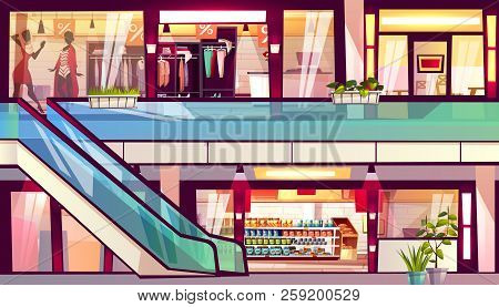 Mall With Shops And Cafes Vector Illustration. Escalator Staircase With Grocery Store Supermarket, M