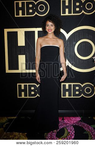 Nathalie Emmanuel at the HBO's Official 2018 Emmy After Party held at the Pacific Design Center in West Hollywood, USA on September 17, 2018.