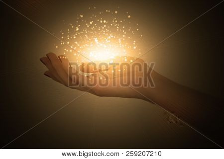 Magic Particles On The Palms Of A Woman, A Stream Of Magical Energy Emanating From Female Hands
