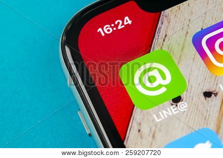Sankt-petersburg, Russia, September 19, 2018: Line Application Icon On Apple Iphone X Screen Close-u
