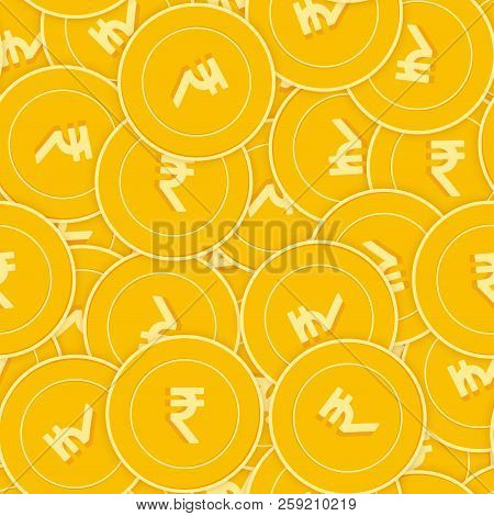 Indian Rupee Coins Seamless Pattern. Exotic Scattered Inr Coins. Big Win Or Success Concept. India C