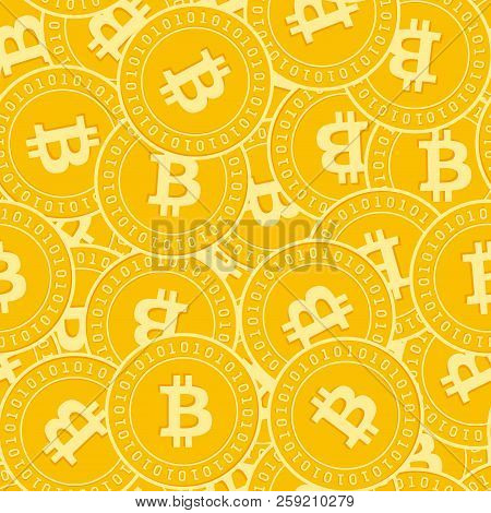 Bitcoin, Internet Currency Coins Seamless Pattern. Stunning Scattered Btc Coins. Big Win Or Success