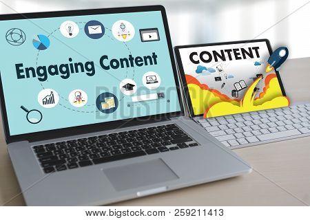 Engaging  Content Marketing Data Blogging Media Publication Information Vision Content Concept