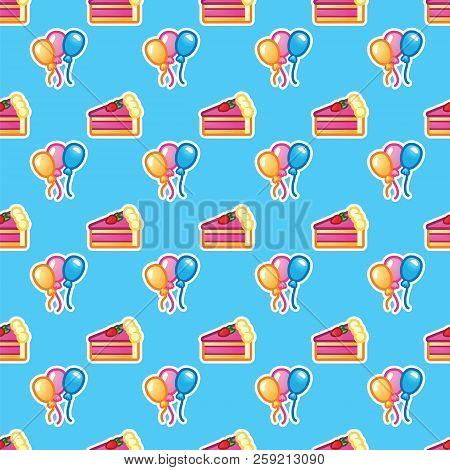 Pattern Piece Of Cake For Celebration Birthday Partyand Colorful Balloon. Happy Birthday, Event, Cel