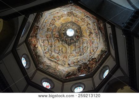 Florence, Italy - December 16, 2017: Judgment Day On The Inside Of The Dome In The Florence Cathedra