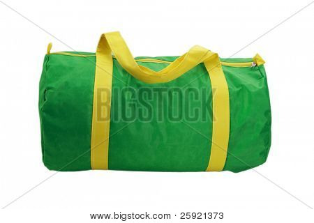 green and yellow duffel bag isolated on white