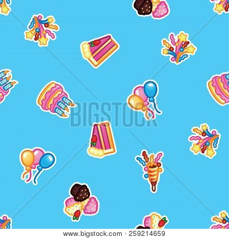 Pattern Birthday Cake With Candles For Celebration Party, Cake, Confectionery Cupcakes, Colorful Bal