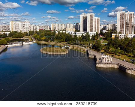 Artificial Pond In Zelenograd In Moscow, Russia