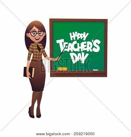 Kind Teacher Stands At The Blackboard Happy Teacher Day Vector