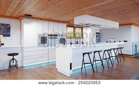 modern chalet kitchen interior. 3d design rendering concept