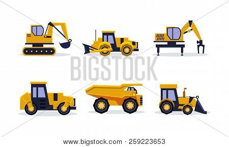 Flat Vector Set Of Heavy Machinery For Building. Construction Equipment. Yellow Excavator, Tractor,