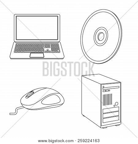 Isolated Object Of Laptop And Device Sign. Collection Of Laptop And Server Stock Vector Illustration