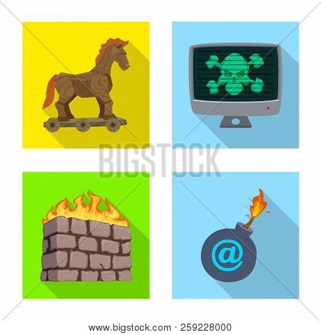Isolated Object Of Virus And Secure Logo. Collection Of Virus And Cyber Vector Icon For Stock.
