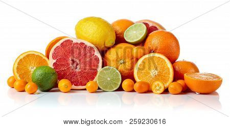 Isolated Citrus Fruits. Pieces Of Lemon, Lime , Tangerine , Pink Grapefruit And Orange Isolated On W