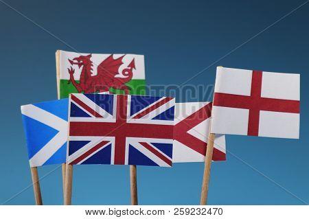 A Few Flag Of States. Four Members Of United Kingdom. Scotland, England, Wales, Nothern Ireland. Blu