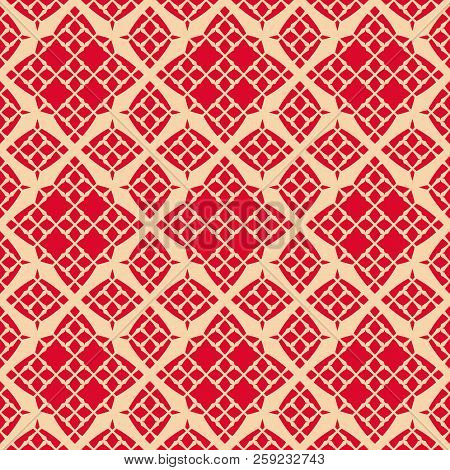Vector Geometric Ornament Seamless Pattern. Elegant Texture With Grid, Mesh, Floral Silhouettes, Dia