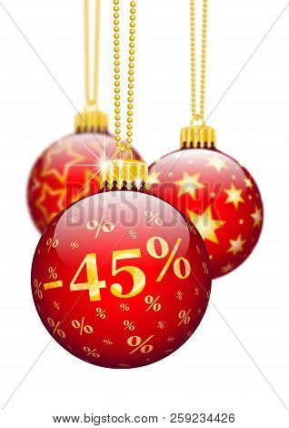 Forty Five Percent, 45%, Price Reduction Red Christmas Baubles - Christmas Offers, Seasonal Discount