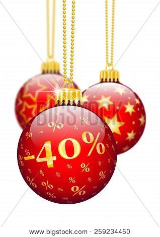 Forty Percent, 40%, Price Reduction Red Christmas Baubles - Christmas Offers, Seasonal Discount And