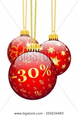 Thirty Percent, 30% -  Price Reduction Red Christmas Baubles - Christmas Offers, Seasonal Discount A