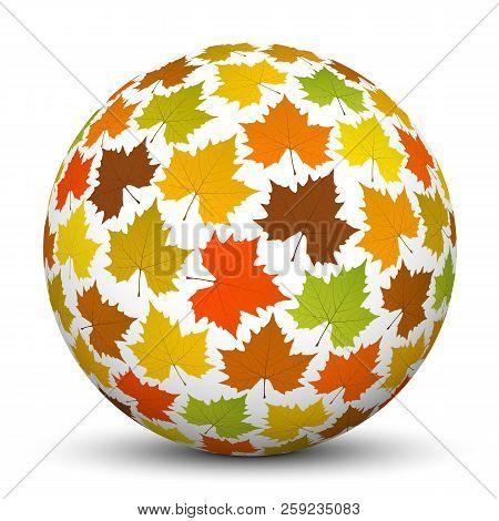 3d White Sphere With Mapple Leaf Texture Imprint - 3d Autumn Graphic Illustration