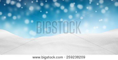 Azure Blue Colored Abstract Panorama Background Landscape - Snowscape With Fresh Snowfall - Beautifu