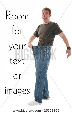 a young man is excited about his weight loss, isolated on white