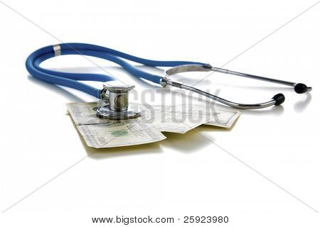 Stethoscope on american money, represents concepts of