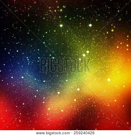 Abstract Cosmos, Universe Background Illustration With Orion Constellation And Starry Orbit - Star F