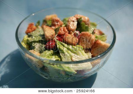 cesar salad on a blue background