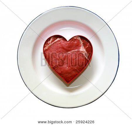 fresh raw rib-eye steak cut into a heart shape, isolated on white with room for your text or images