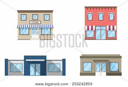 Set Of Store, Shop, Mini Mall. Store Fronts, Flat Style. Urban Retail Business Buildings. Vector Ill