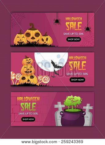 Horizontal Happy Halloween Invitation Posters Set . Greeting Cards .scary  Party.banner For Celebrat