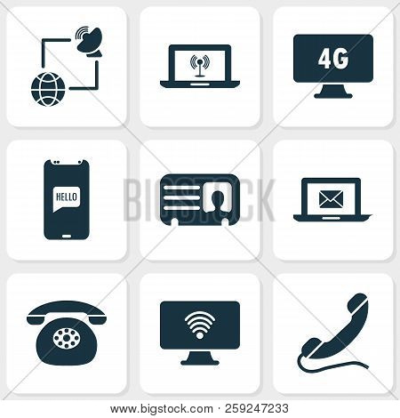 Communication Icons Set With Handset, Greeting On Phone, Communications Internet Elements. Isolated