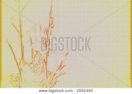 abstract background with scene peaster tree willow poster