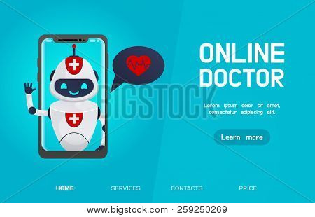 Medical Chatbot Concept.health Care. Online Doctor, Medical Consultation Concept Web Banner With Tex