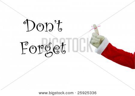 A Santa Claus arm with a red bow on the index finger to remind everyone