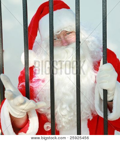 "Santa Claus is behind bars in jail and needs your help to either be bailed out or escape before december 24th or there will no No Christmas for anyone this year. Please help ""FREE SANTA"" poster"