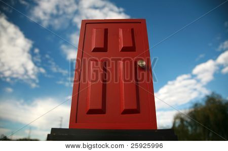 a magic red door  leading to the outside world or perhaps a portal to the 5th dimention