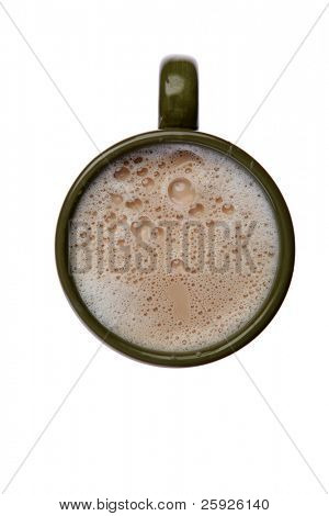 isolated cup of coffee or latte with some great bubbles isolated on white with room for your text
