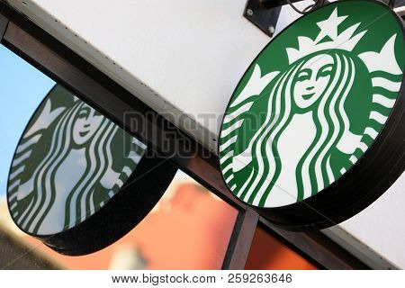 Monte-carlo, Monaco - September 19, 2018: Starbucks Sign Is Displayed At The Facade Of A Starbucks S