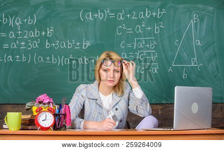 Teacher Doubtful Face Listening You. She Has Doubts In Your Report Or Knowledge. Teacher Suspiciousl